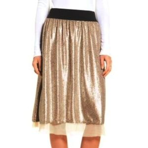 Free People Flashing Lights Gold Sequin Midi Skirt